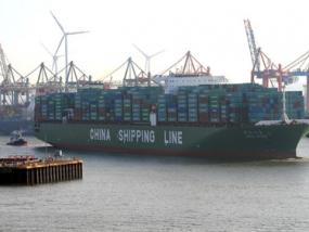 Containerhafenrundfahrt auf dem Schiff in Hamburg