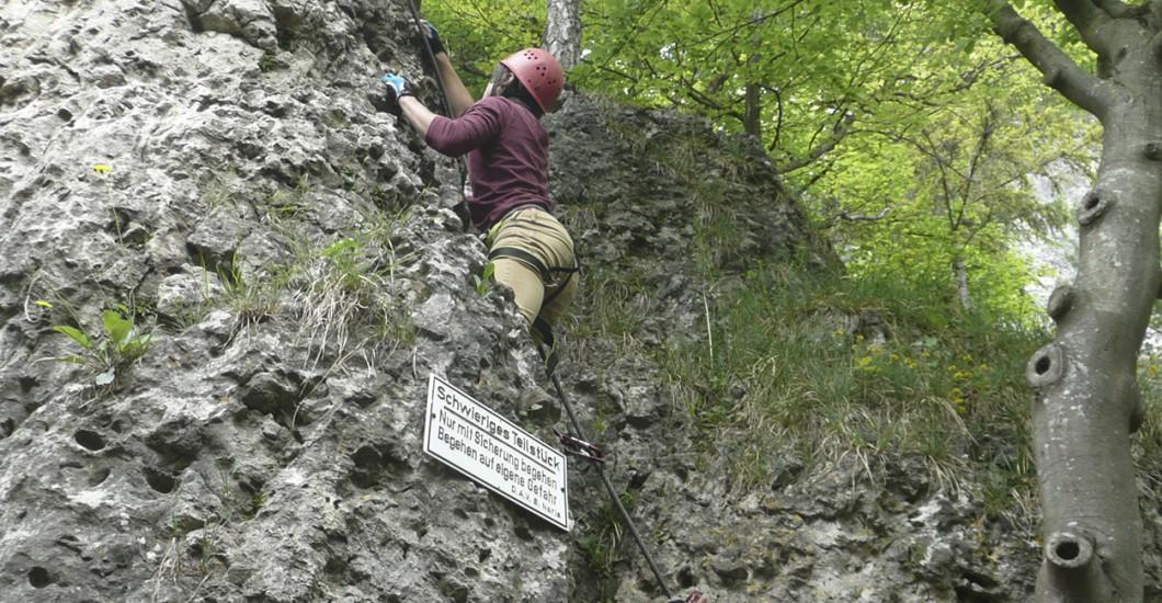 Klettersteig Höhenglücksteig : Klettersteig gehen auf dem oberlandsteig in konstein im altmühltal